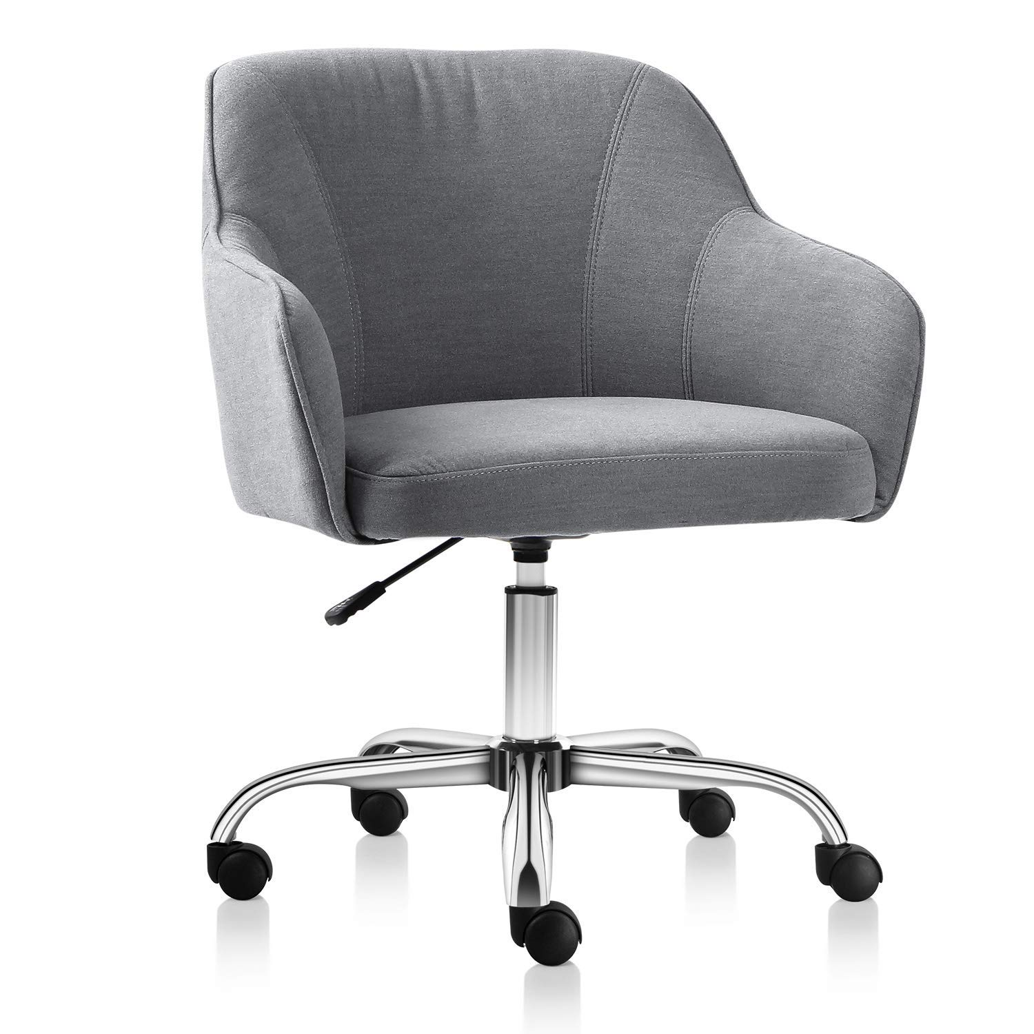 Rimiking Home Office Chair Upholstered Desk Chair With Arms For Conference Room Or Office Grey Ezgoods Llc